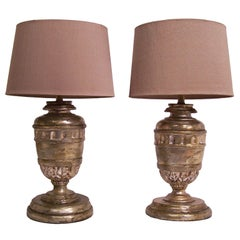 18th Century Silver Gilt Wood Urn Lamps
