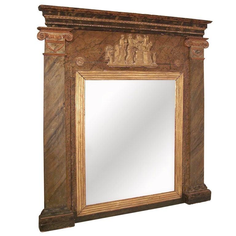 Large 19th Century Italian Painted Mirror