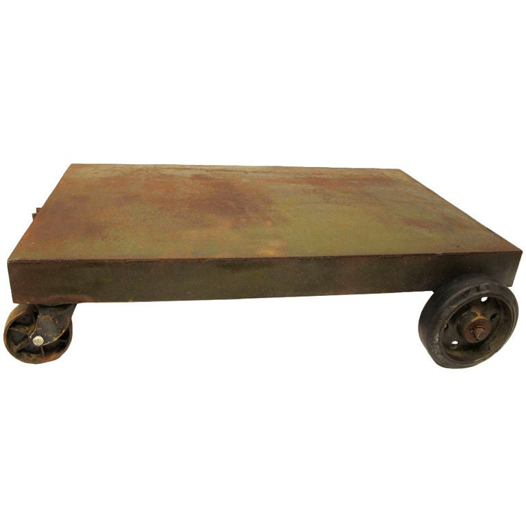 Industrial iron cart coffee table, early to mid 20th century, offered by Antiquario