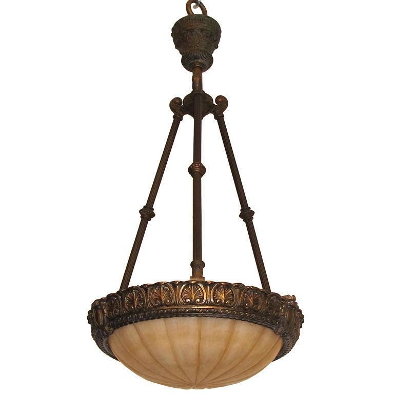 Carved Alabaster Light Fixture
