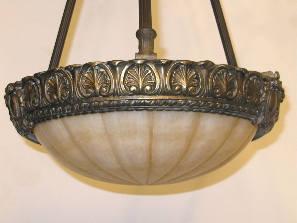 20th Century Carved Alabaster Light Fixture For Sale