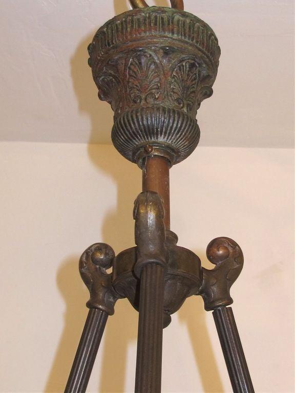 Copper Carved Alabaster Light Fixture For Sale