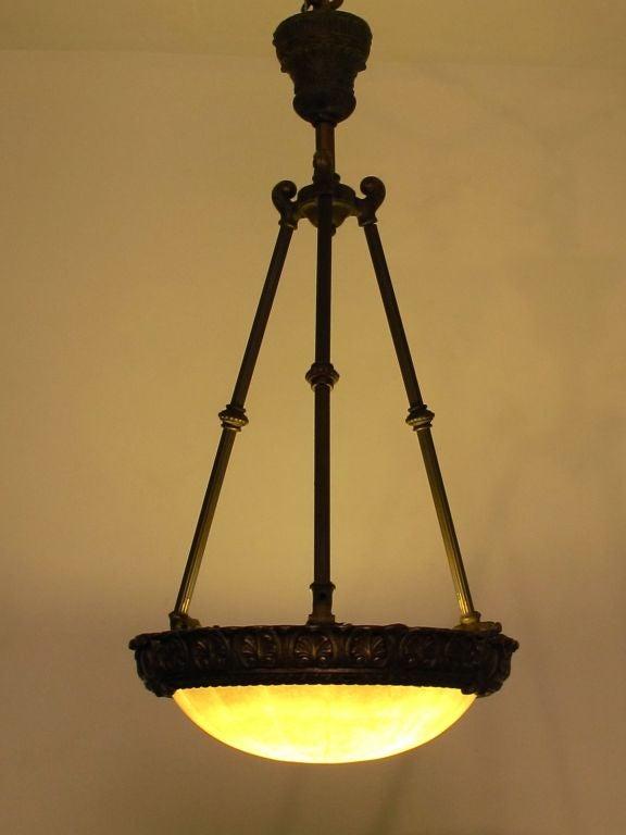 Carved Alabaster Light Fixture For Sale 2