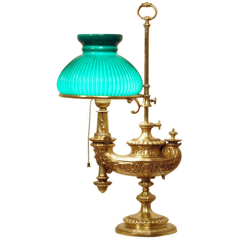 Brass Student Or Desk Lamp With Green Ribbed Shade For