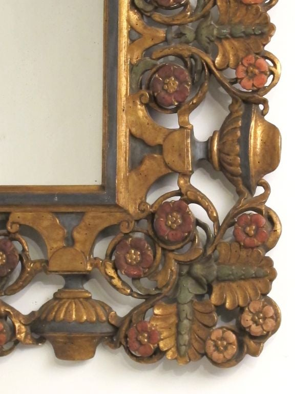 Elaborately Carved and Polychromed Italian Mirror In Excellent Condition For Sale In San Francisco, CA