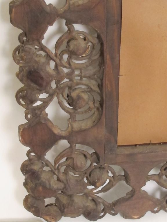 Walnut Elaborately Carved and Polychromed Italian Mirror For Sale