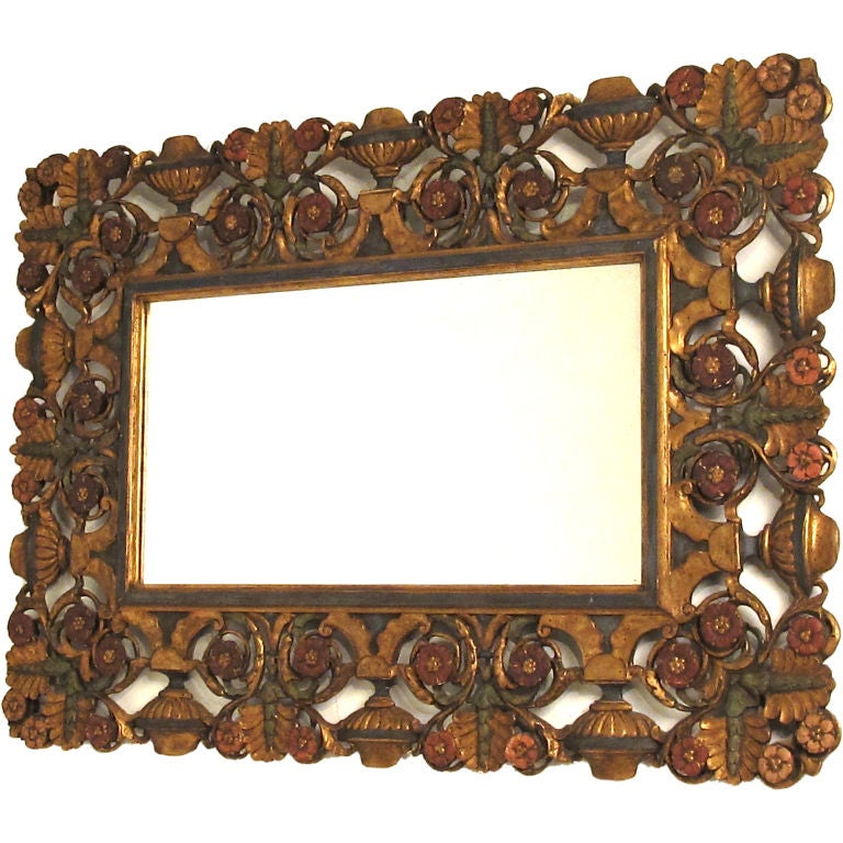 Elaborately Carved and Polychromed Italian Mirror For Sale