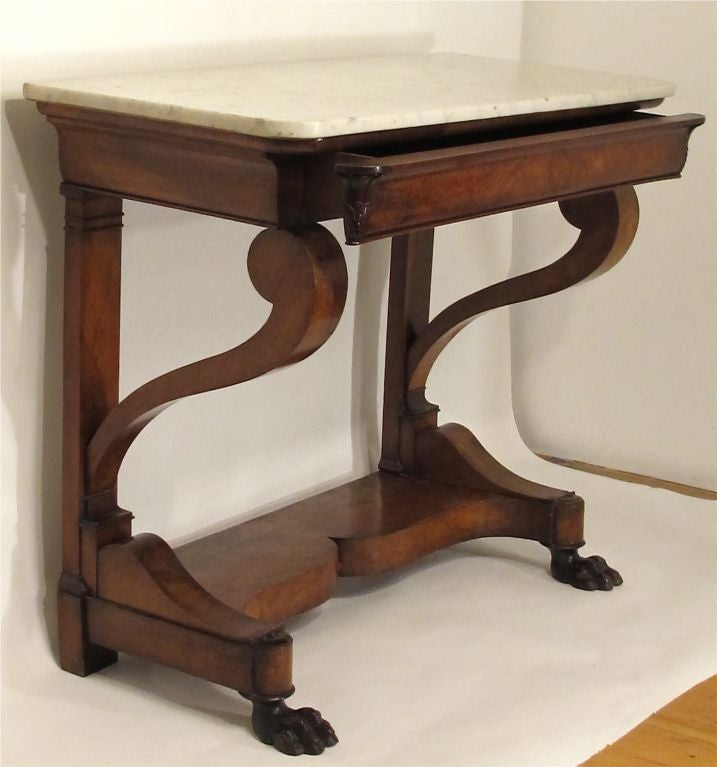 Empire style mahogany claw foot console table at 1stdibs for 5 foot console table