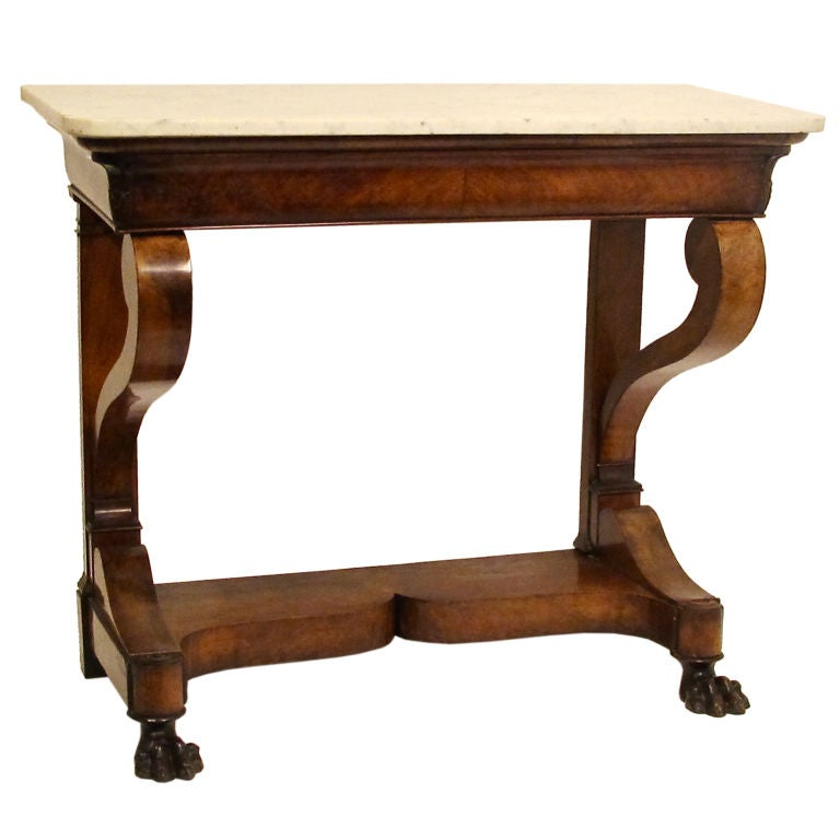 Empire Style Mahogany Claw Foot Console Table At 1stdibs