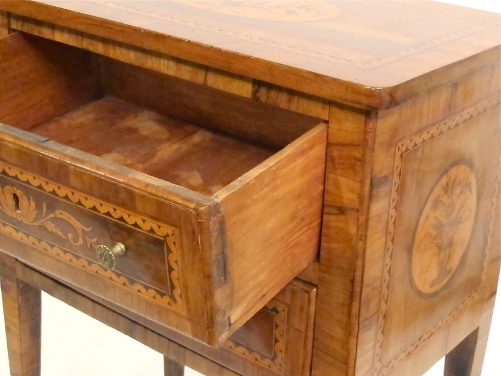 18th Century and Earlier Walnut Marquetry Inlay Comodino Side Table, Italian, 18th Century For Sale