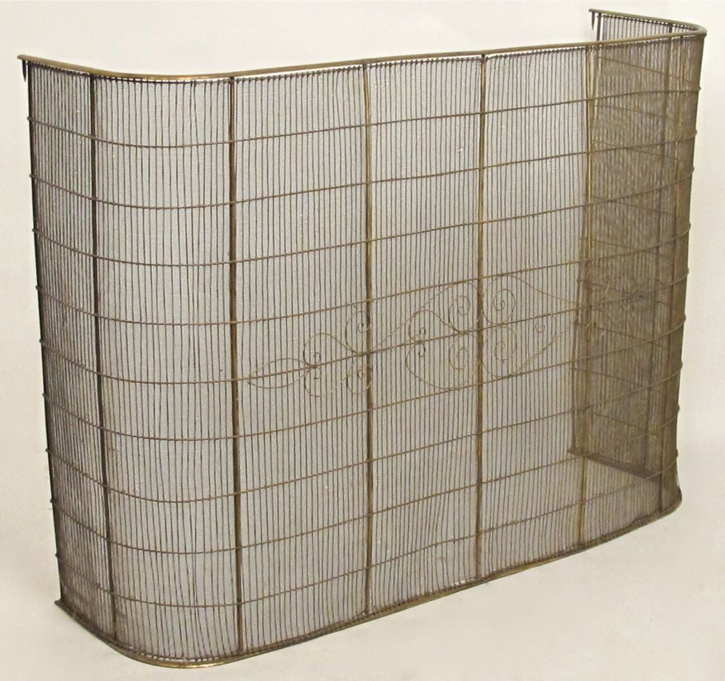 this unusually large brass and steel fire screen is no longer