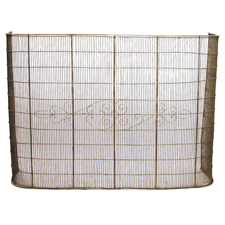 unusually large brass and steel fire screen at 1stdibs