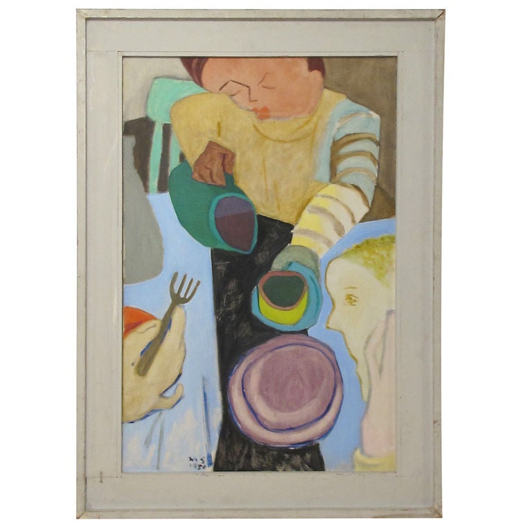 Mid Century Abstract Painting by California Artist Martin Snipper For Sale