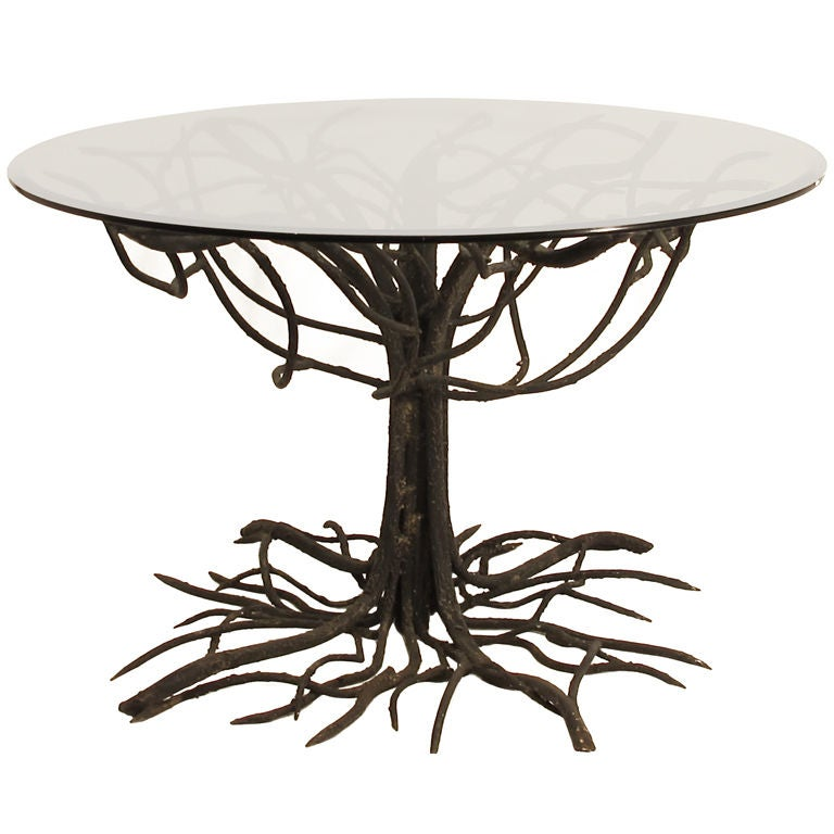 wrought iron tree base table