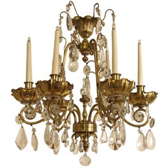 French Bagues Style Brass and Crystal Chandelier
