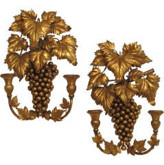 Pair of Italian Gilt Metal and Wood Candle Sconces