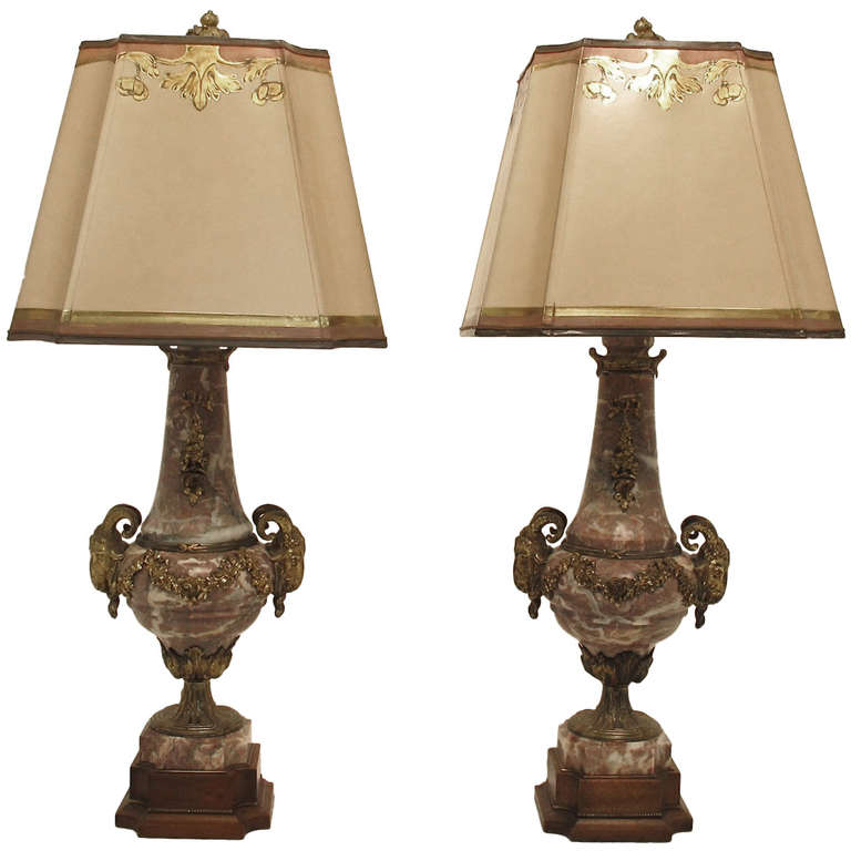 19th Century French Marble Lamps
