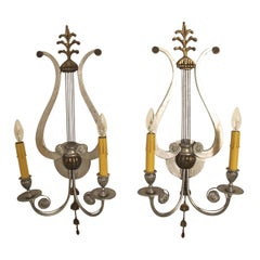 Pair of Lyre Shaped Silver Sconces