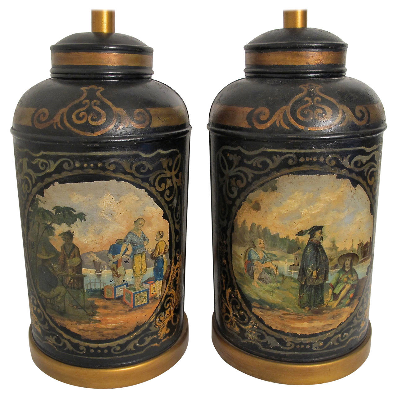 Antique Painted Tea Canister Lamps England 19th Century For Sale