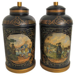 Antique Painted Tea Canister Lamps, England 19th Century