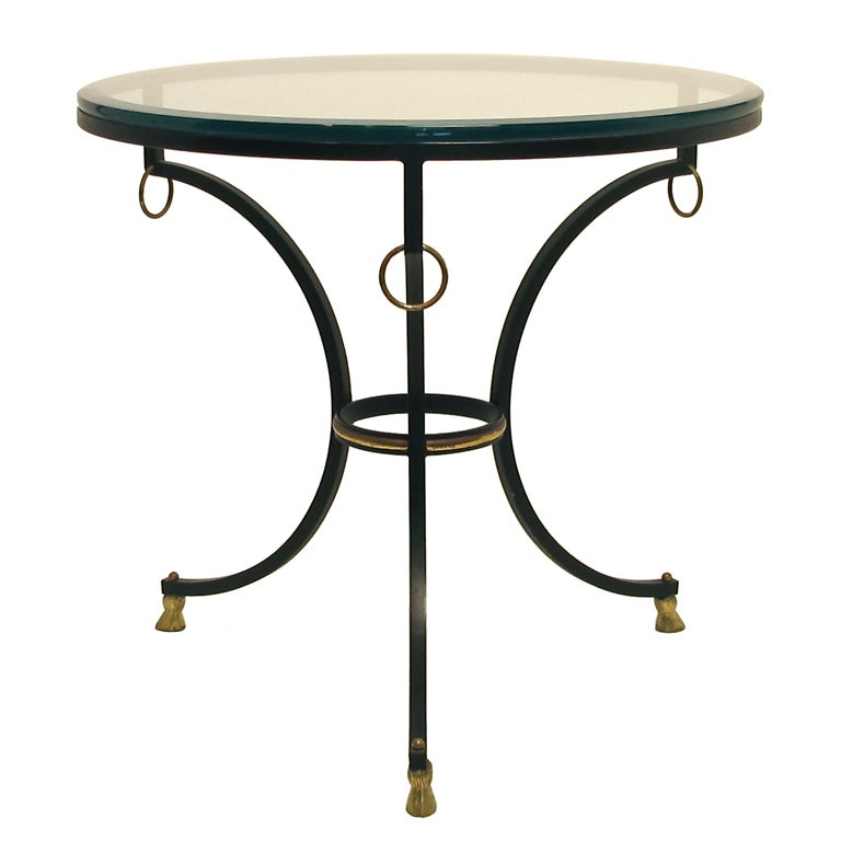 Neoclassical Style Iron and Brass Side Table