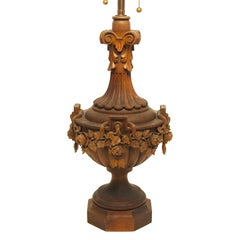 Large Carved Wood Lamp