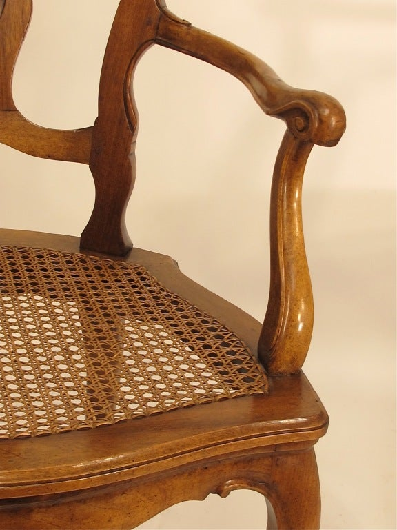20th Century Pair of Italian Carved Walnut and Caned Armchairs For Sale