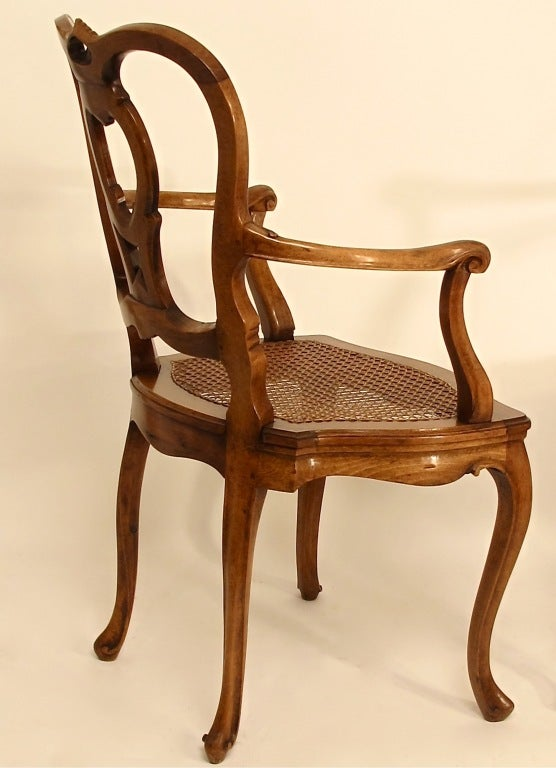 Pair of Italian Carved Walnut and Caned Armchairs For Sale 1