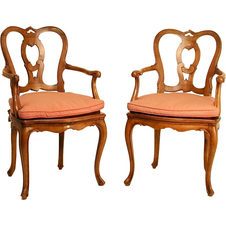 Pair of Italian Carved Walnut and Caned Armchairs For Sale