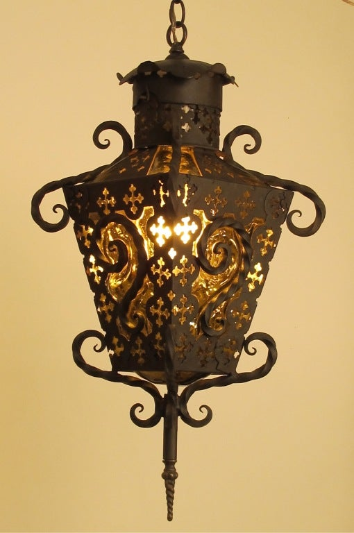 Wrought Iron And Glass Lantern Pendant Light At 1stdibs