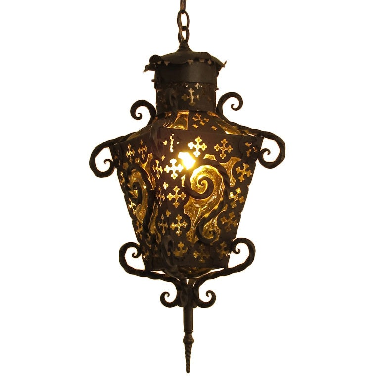 wrought iron and glass lantern pendant light at 1stdibs. Black Bedroom Furniture Sets. Home Design Ideas