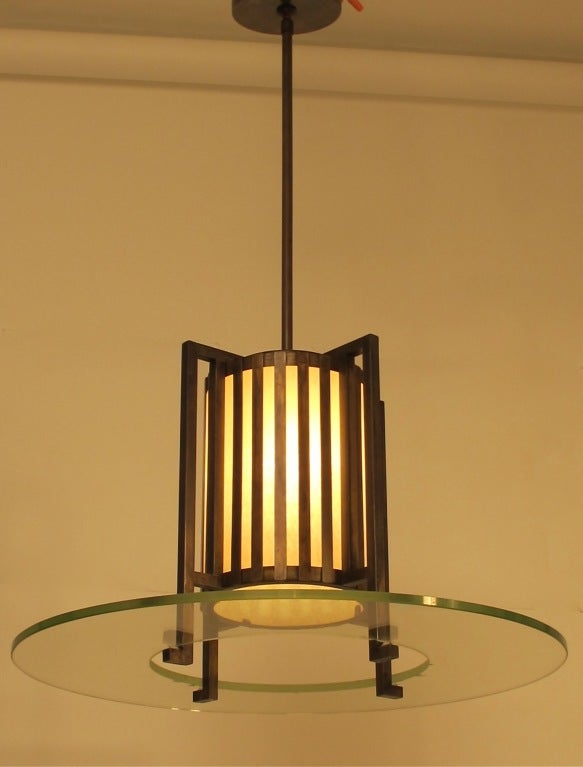 Mid-Century Modern Midcentury Bronze and Glass Light Fixture For Sale