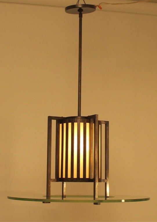 American Midcentury Bronze and Glass Light Fixture For Sale