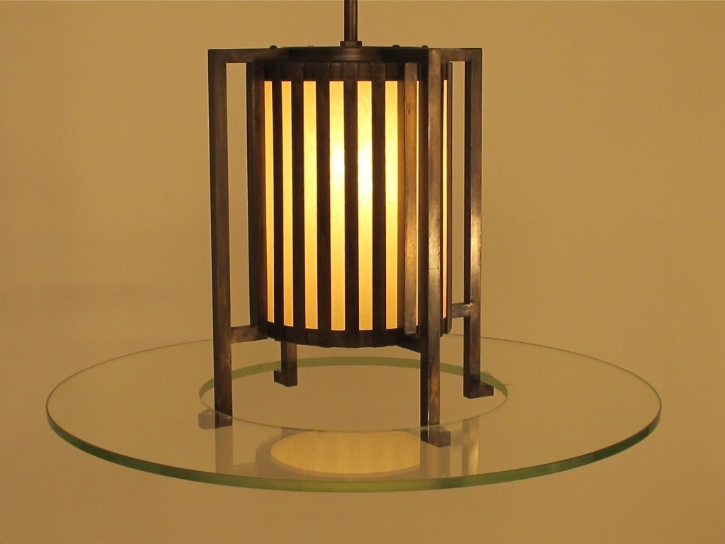 Midcentury Bronze and Glass Light Fixture In Good Condition For Sale In San Francisco, CA