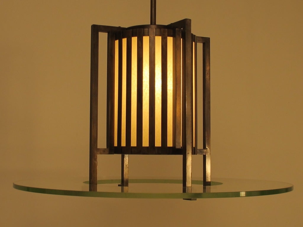 20th Century Midcentury Bronze and Glass Light Fixture For Sale