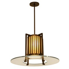 Midcentury Bronze and Glass Light Fixture