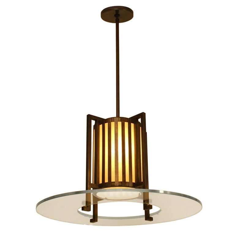 Midcentury Bronze and Glass Light Fixture For Sale