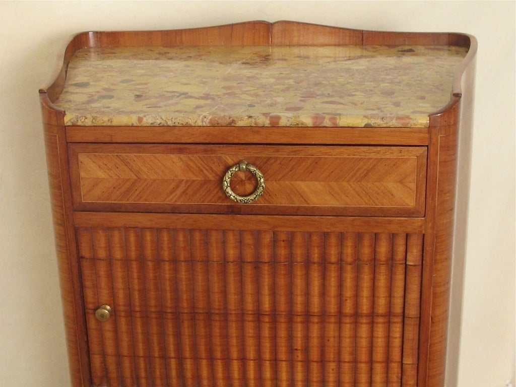 Hand-Crafted French Mahogany and Tulipwood Side Cabinet Table with Marble Top For Sale