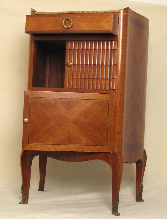 French Mahogany and Tulipwood Side Cabinet Table with Marble Top In Excellent Condition For Sale In San Francisco, CA