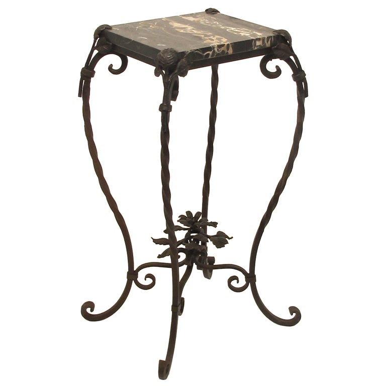 Wrought Iron and Marble Table/Plant Stand at 1stdibs