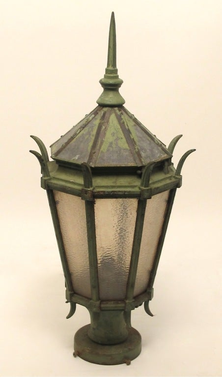 Painted Large Antique American Cast Iron Street Light Fixture Lantern,  For Sale