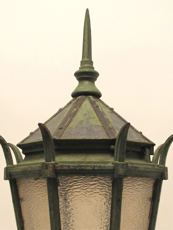 19th Century Large Antique American Cast Iron Street Light Fixture Lantern,  For Sale