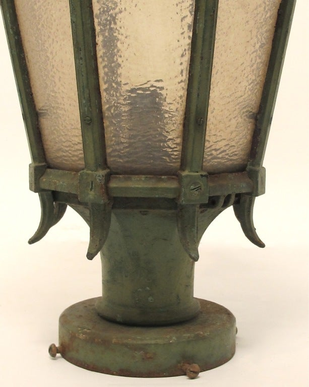 Glass Large Antique American Cast Iron Street Light Fixture Lantern,  For Sale