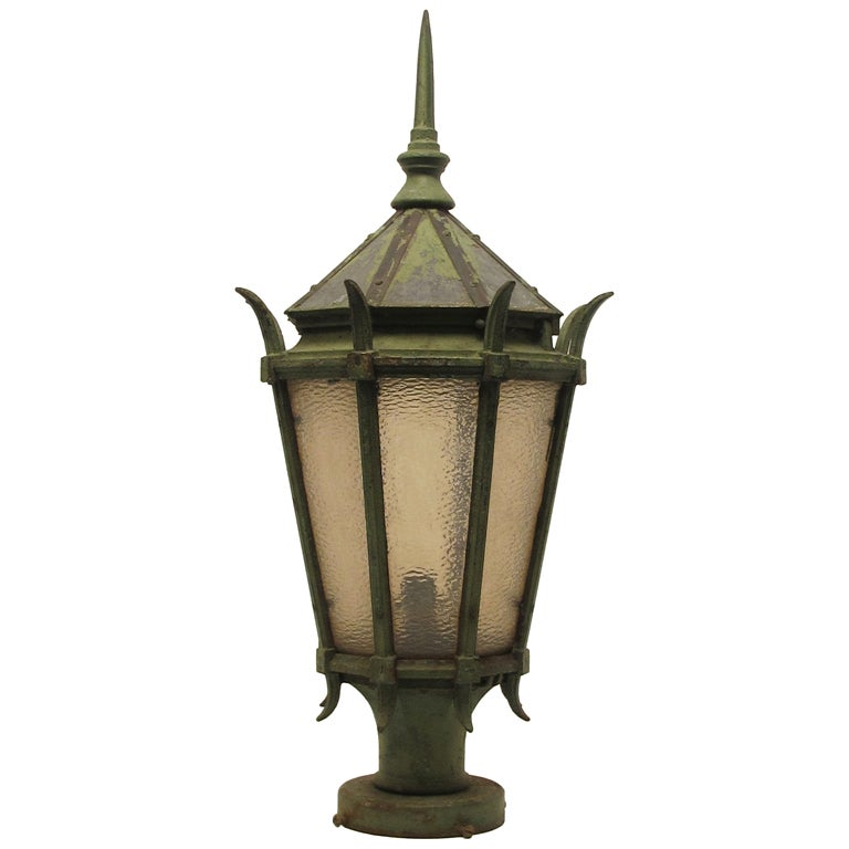 Large American Cast Iron Street Light Fixture Lantern For