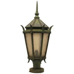 Large Antique American Cast Iron Street Light Fixture Lantern,