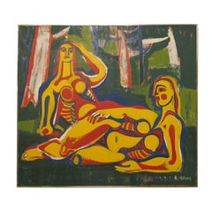 Abstract Figural Painting by Robert Gilberg
