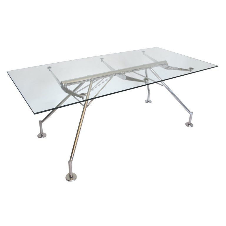 Quot Nomos Quot Style Chrome And Glass Desk After Norman Foster At
