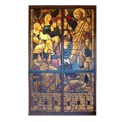 19th Century Pre-Raphaelite Religious Stain Glass Window