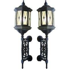 Large pair of Impressive Baroque Cast Iron Lanterns