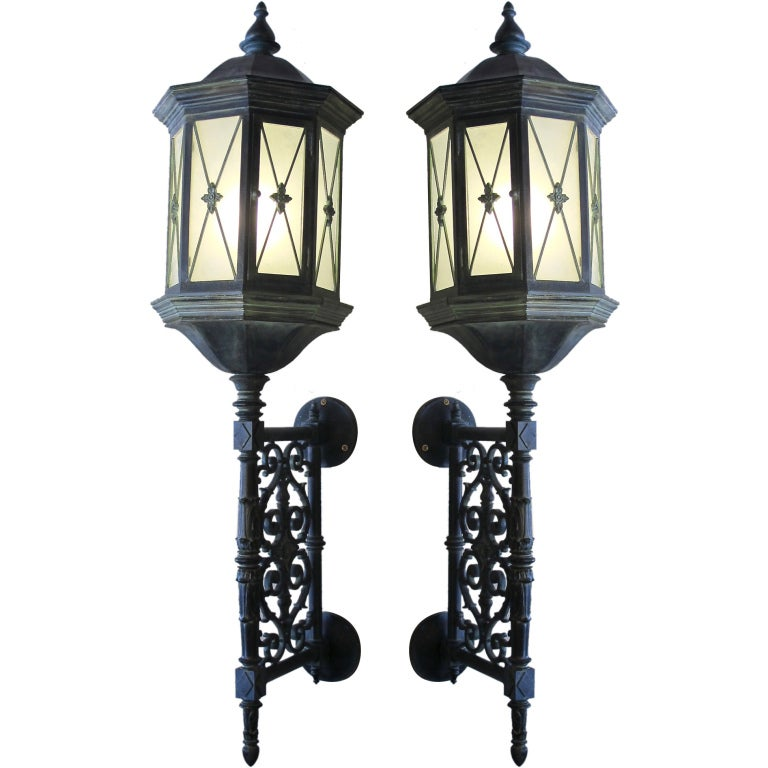 Pair of Large Baroque Style Cast Iron Lanterns, American, Early 20th Century